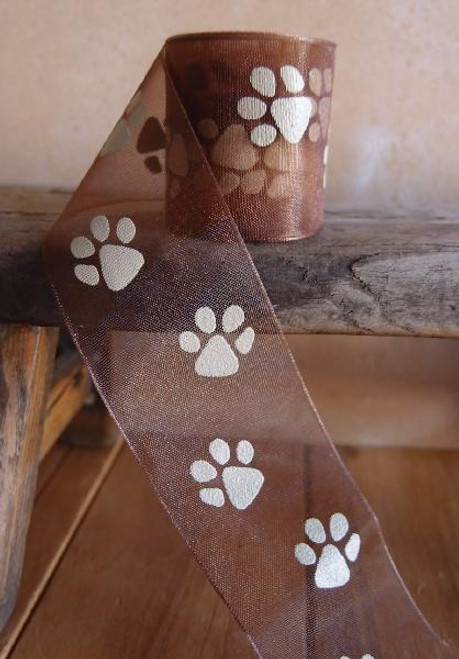 Chocolate Sheer with Toffee Paw Print Ribbon (3 sizes)