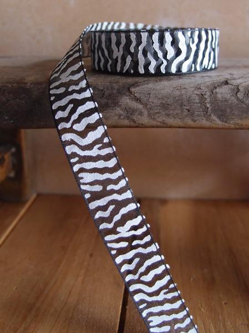 Black Sheer with White Zebra Print Ribbon (4 sizes)