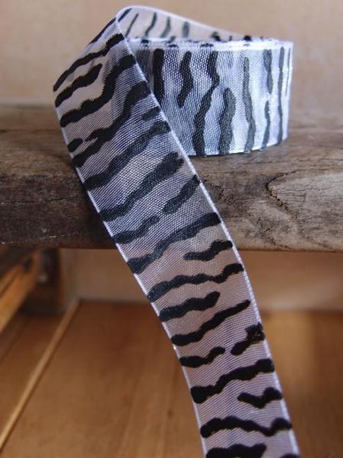 White Sheer with Black Zebra Print Ribbon (4 sizes)