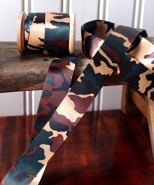 Double Face Camouflage Print Satin Ribbon (3 sizes)