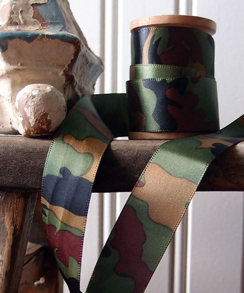 Double Sided Camouflage Print Satin Ribbon (3 sizes)