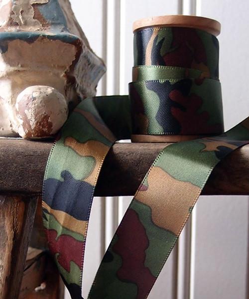 Double Sided Camouflage Print Satin Ribbon (3 sizes)
