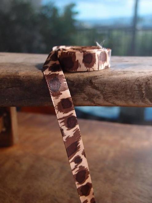 Double  Face Brown Leopard  Print Satin  Ribbon (3 sizes)