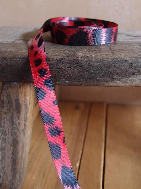 Double Face Red Leopard Print Satin Ribbon, Wholesale Ribbon, Wholesale Gift Packaging | Packaging Decor