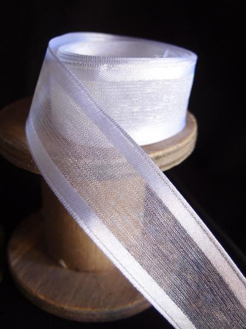 White Sheer Ribbon with Satin Wired Edge (3 sizes)