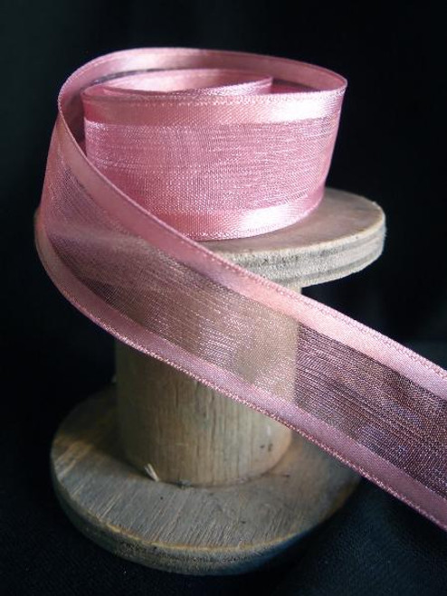 Mauve Sheer Ribbon with Satin Wired Edge (3 sizes)