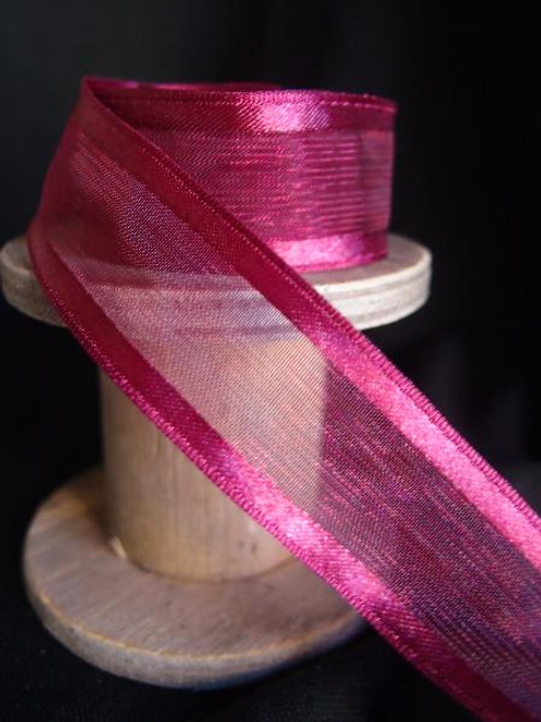 Burgundy Sheer Ribbon with Satin Wired Edge (3 sizes)