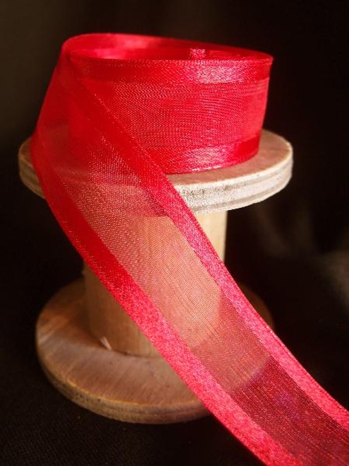 Red Sheer Ribbon with Satin Wired Edge (3 sizes)