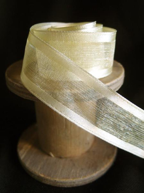 Yellow Sheer Ribbon with Satin Wired Edge (3 sizes)