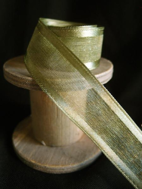 Moss Sheer Ribbon with Satin Wired Edge (3 sizes)