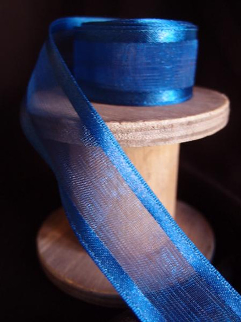 Navy Sheer Ribbon with Satin Wired Edge (3 sizes)