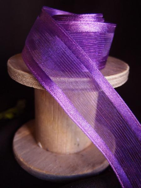 Purple Sheer Ribbon with Satin Wired Edge (3 sizes)