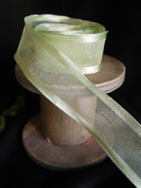 Mint Sheer Ribbon with Satin Wired Edge (3 sizes)