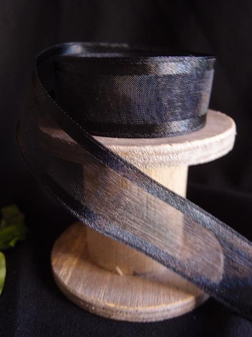 Black Sheer Ribbon with Satin Wired Edge (3 sizes)
