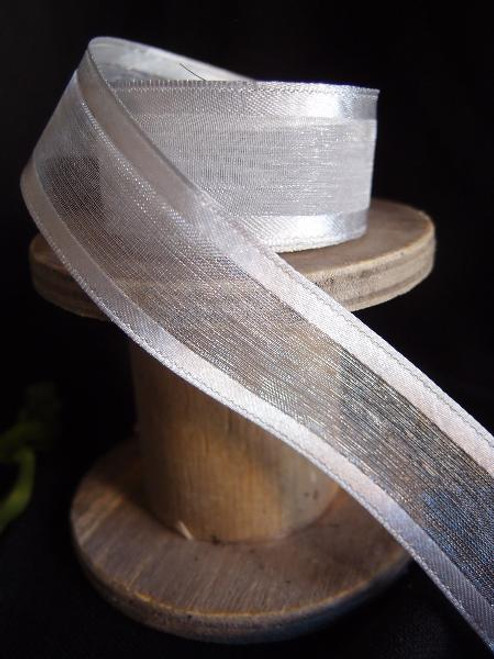 Silver Sheer Ribbon with Satin Wired Edge (3 sizes)