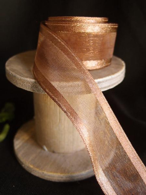 Copper Sheer Ribbon with Satin Wired Edge (3 sizes)