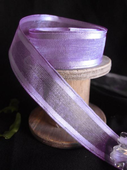 Delphinium Sheer Ribbon with Satin Wired Edge (3 sizes)
