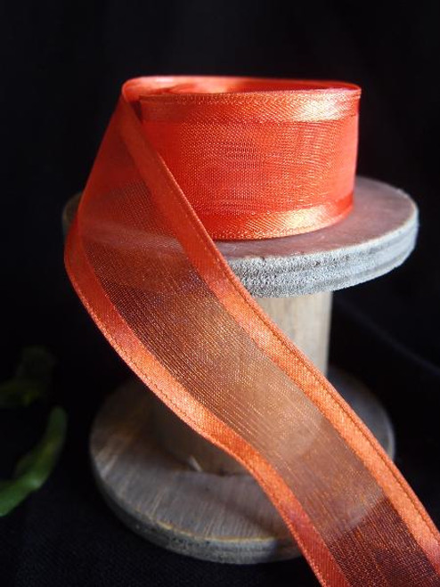 Autumn Sheer Ribbon with Satin Wired Edge (3 sizes)