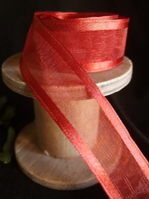 Crimson Sheer Ribbon with Satin Wired Edge (3 sizes)