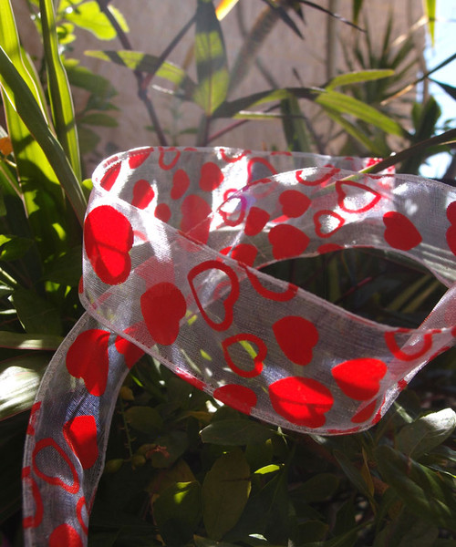 White Sheer with Red Hearts Print  Wire Ribbon (2 sizes)