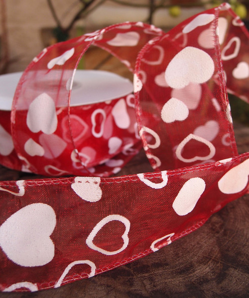 Red Sheer with White Hearts Print Wire Ribbon (2 sizes)