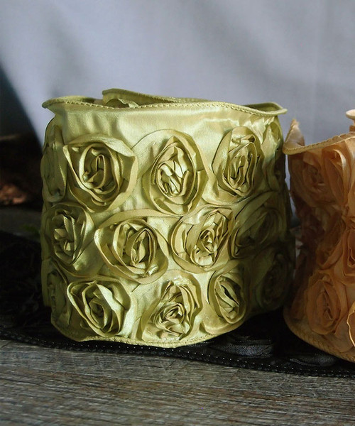 Lime Green Rose Petal Ribbon with Wire Edge
