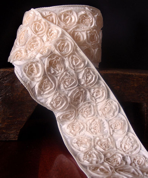 Ivory Rose Petal Ribbon with Wire Edge