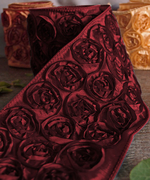 Burgundy Rose Petal Ribbon with Wire Edge