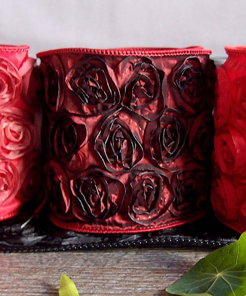 Fire Brick Rose Petal Ribbon with Wire Edge