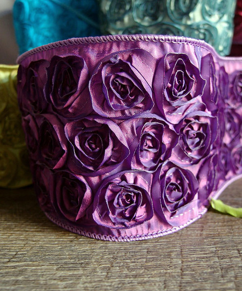 Purple Rose Petal Ribbon with Wire Edge