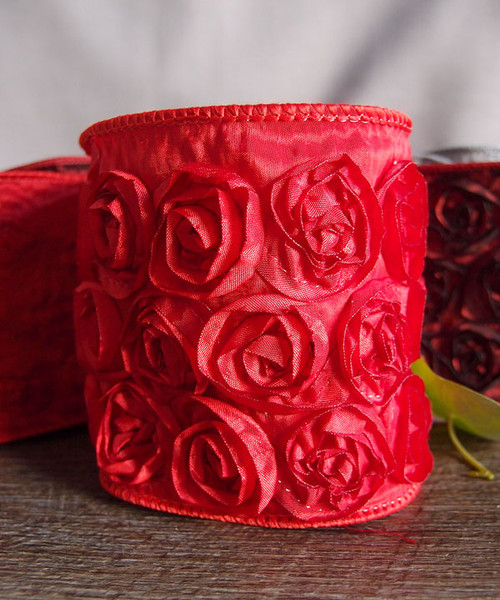 Red Rose Petal Ribbon with Wire Edge