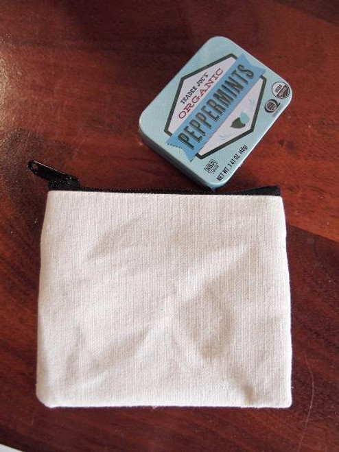 Cotton Canvas Flat Zipper Pouch Small