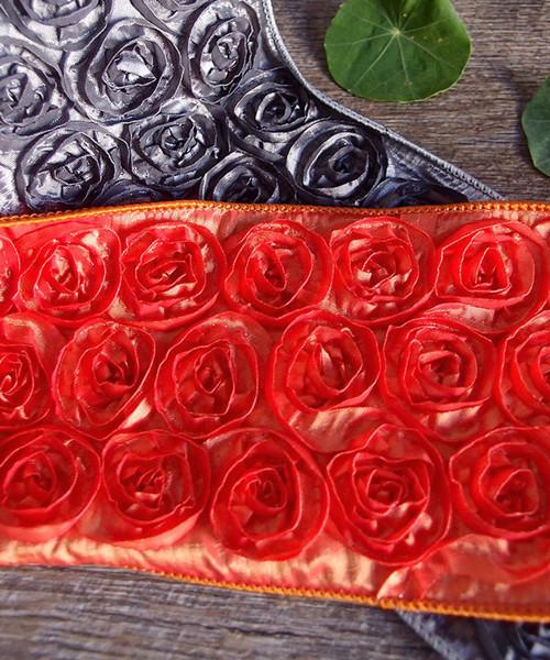 Orange Rose Petal Ribbon with Wire Edge