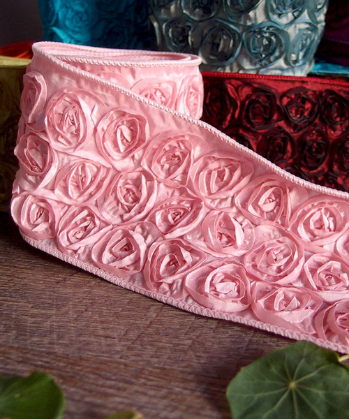 Pink Rose Petal Ribbon with Wire Edge