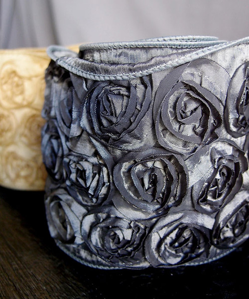 Pewter Rose Petal Ribbon with Wire Edge