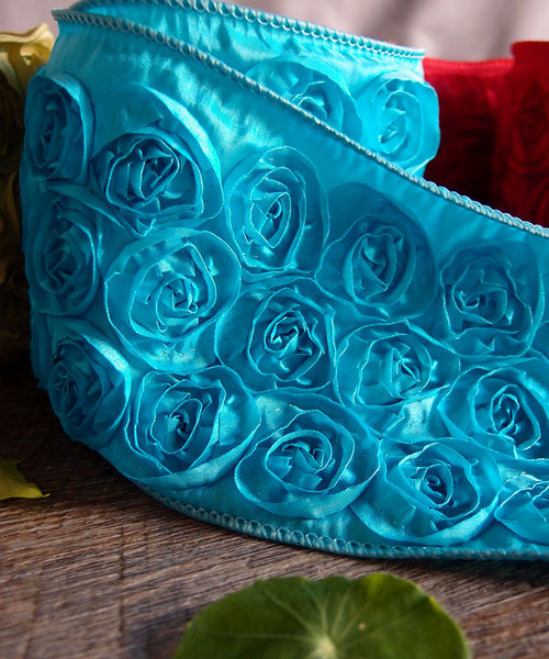 Turquoise Rose Petal Ribbon with Wire Edge