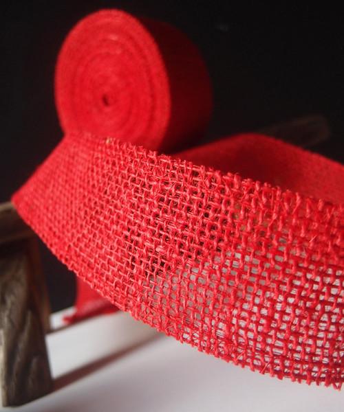 """2"""" x 10Y Red Burlap Jute Ribbon"""
