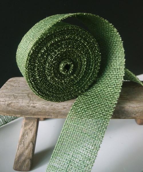 """2"""" x 10Y Green Burlap Jute Ribbon"""