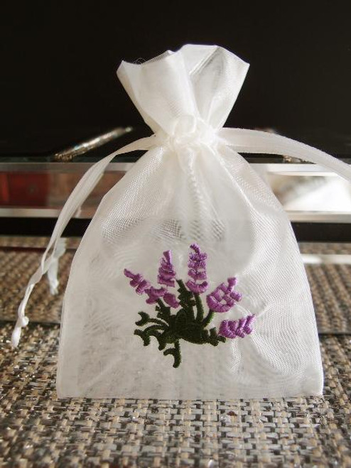Ivory Bag with Lavender Flower Embroidery (2 sizes)