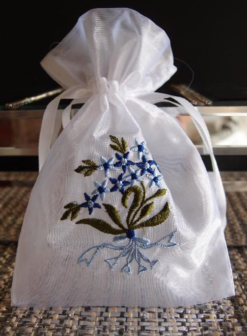White Bag w/Blue Flower Embroidery (2 sizes)