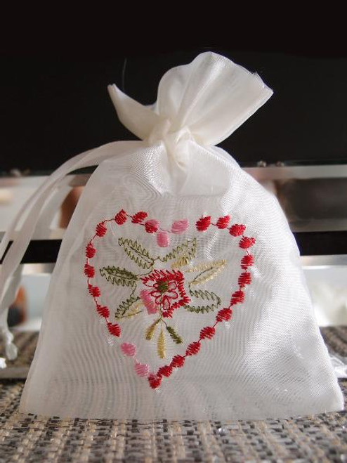 Ivory Bag with Red Heart Embroidery (2 sizes)