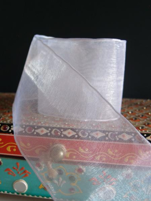 White Sheer Ribbon with Wired Edge (2 sizes)