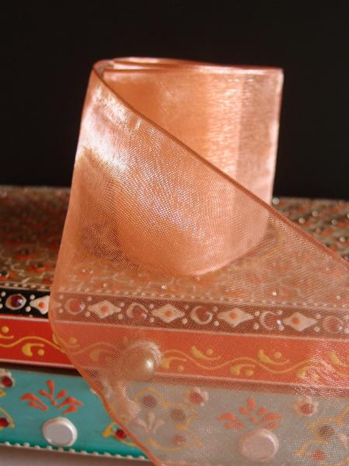 Peach Sheer Ribbon with Wired Edge (2 sizes)