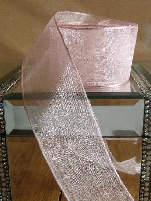 Pink Sheer Ribbon with Wired Edge (2 sizes)