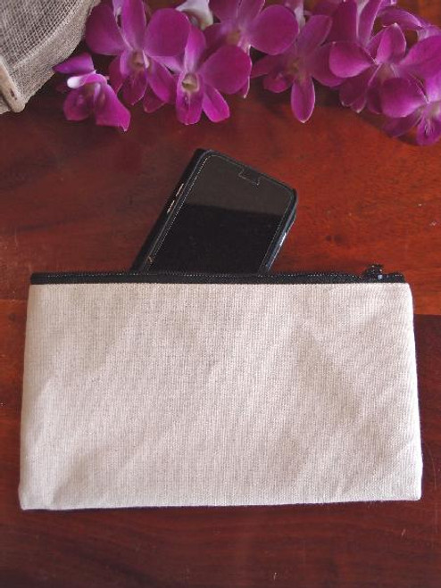 Cotton Canvas Flat Zipper Pouch Large, B694-71 | Packaging Decor