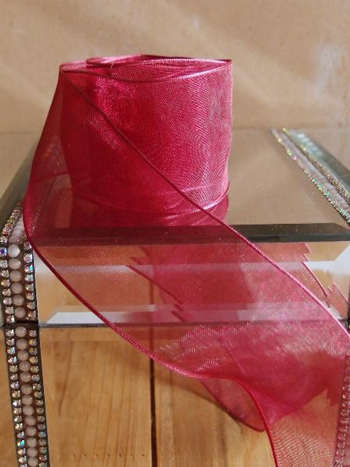 Burgundy Sheer Ribbon with Wired Edge (2 sizes)
