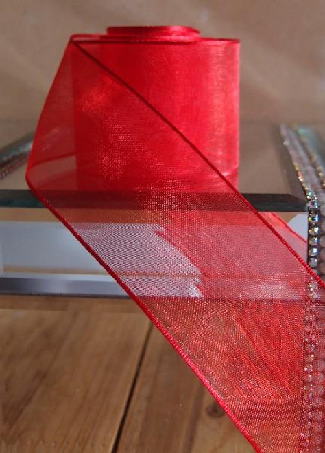 Red Sheer Ribbon with Wired Edge (2 sizes)