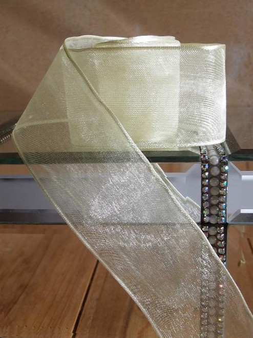 Yellow Maize Sheer Ribbon with Wired Edge (2 sizes)
