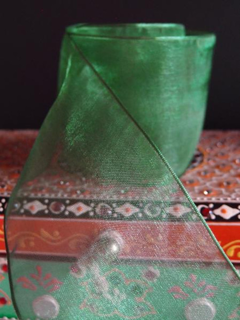 Hunter Green Sheer Ribbon with Wired Edge (2 sizes)