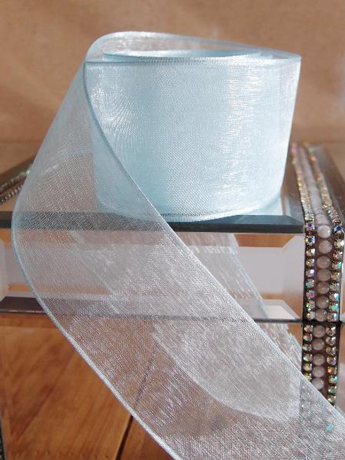 Light Blue Sheer Ribbon with Wired Edge (2 sizes)